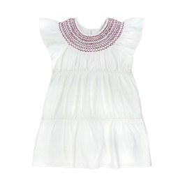白色刺繡中長版洋裝
