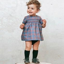 Baby 刺繡格紋洋裝