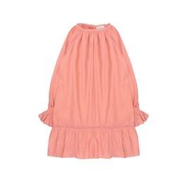 鮭魚粉絲質蕾絲洋裝(版型偏大)