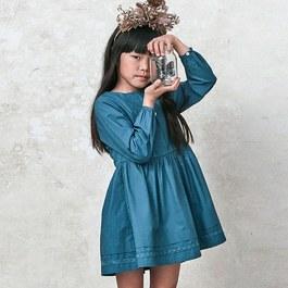土耳其藍蕾絲薄棉洋裝(版型偏大)