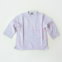 Baby 無領條紋襯衫