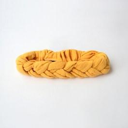 法式編織素色髮帶_黃