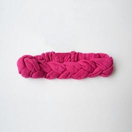 法式編織素色髮帶_桃紅