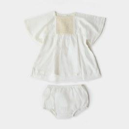 Baby Noor 白色編織刺繡洋裝