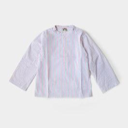 無領條紋襯衫