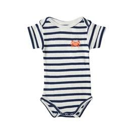 Baby 小螃蟹刺繡條紋連身衣