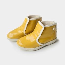 法式黃色亮面雨鞋