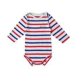 Baby Bonjour 海軍條紋刺繡連身衣(合身版型)