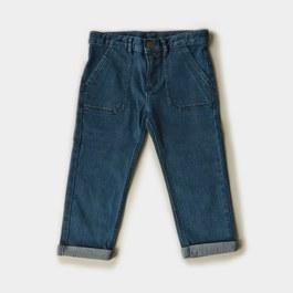 大口袋直筒丹寧褲