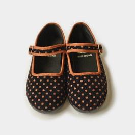 點點燈芯絨瑪莉珍鞋