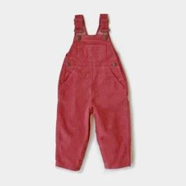 Baby 桃紅薄燈芯絨吊帶褲 (版型偏大)
