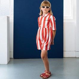 番茄紅條紋連身衣(版型偏大)