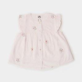 淡粉刺繡小花上衣