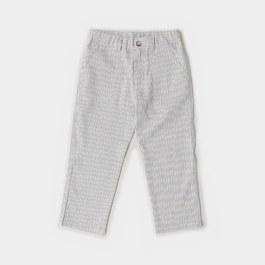 夏日薄棉藍咖條紋長褲