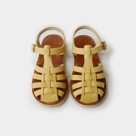 皮革編織涼鞋_黃色