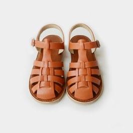 皮革編織涼鞋_棕咖色