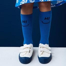 HI BYE 藍色及膝襪