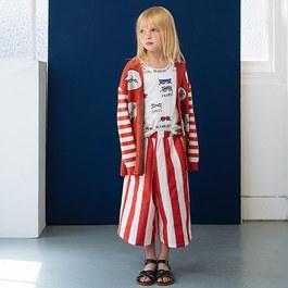 番茄紅條紋八分薄寬褲