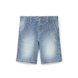直條紋刷白百慕達褲