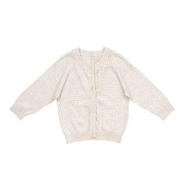 奶油白鏤空絲棉針織外套