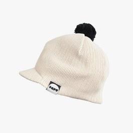 奶油白棉質針織球球帽