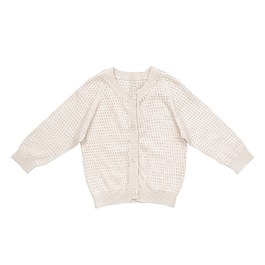 Baby 奶油白鏤空絲棉針織外套