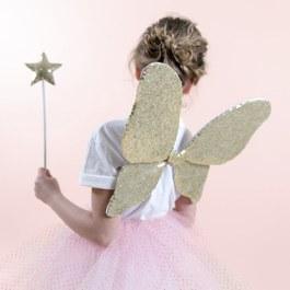公主童話金色亮片翅膀