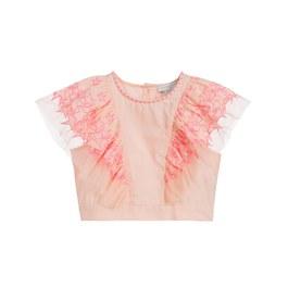 霓虹粉刺繡星星短版上衣