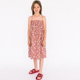 小鳥細肩綁帶傘狀洋裝_藕粉色
