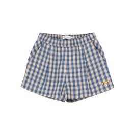藍格紋平織短褲(版型偏大)