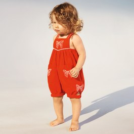 Baby Gemini 蝴蝶結刺繡連身衣
