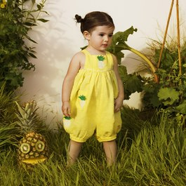 Baby 鳳梨刺繡吊帶連身褲