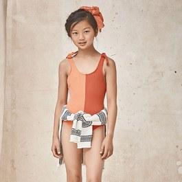 雙色綁帶造型泳衣