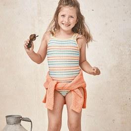 彩色條紋鏤空泳衣