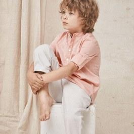 粉色條紋無領襯衫(薄款)