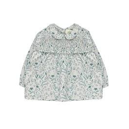 Baby 翡翠綠花朵薄棉上衣