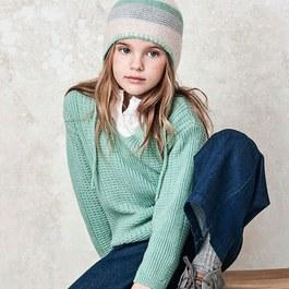 湖水綠混羊毛V領套頭衫