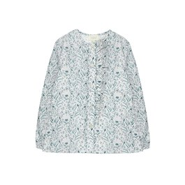翡翠綠花朵薄棉上衣