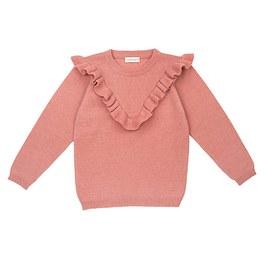 Vicky 粉色荷葉領羊毛上衣