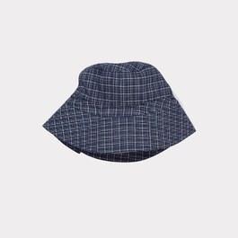 牛津藍格紋遮陽帽