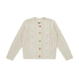 米灰麻花羊毛針織外套