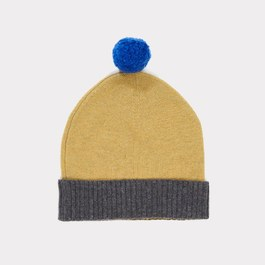 撞色球球美麗諾羊毛帽