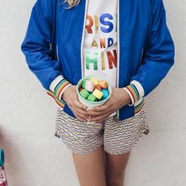 彩虹薄棉短褲