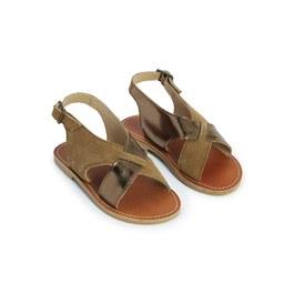 異材質交叉皮革涼鞋