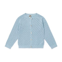鏤空棉質針織外套_藍色