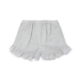 藍咖條紋荷葉擺短褲