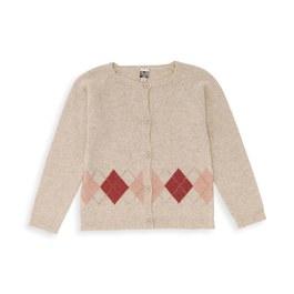 鑽石格紋羊毛針織外套