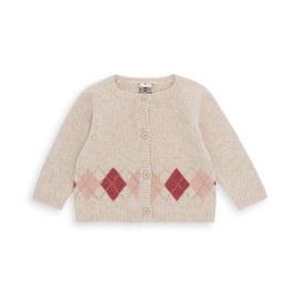 Baby 鑽石格紋羊毛針織外套