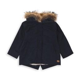 Parka 兩件式毛領刷毛大衣_深藍
