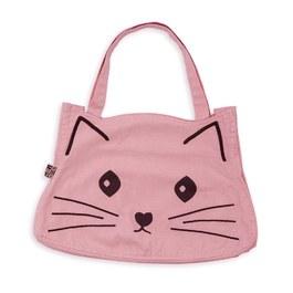 可愛貓咪復古刷色帆布包_蠟粉